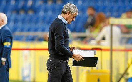 Setién, durante el partido de ayer en Las Palmas.