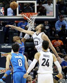 101-102. Westbrook logró triple-doble en triunfo Thunder; Marc, 22 puntos
