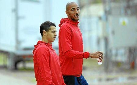Nzonzi, junto a Ben Yedder en un entrenamiento.