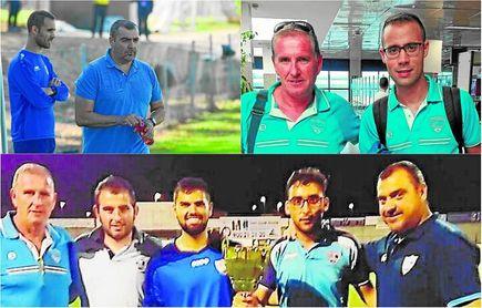 El cuerpo técnico de Hidalgo lo completan: Paco Estudillo, Manuel César (ambos, arriba a la derecha) y Juan Andrés (a la derecha, segundo por la izquierda).
