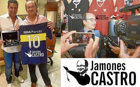 José Castro, durante la presentación de su nuevo proyecto que lucirá en las camisetas de Sevilla y Boca Juniors.