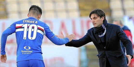 Montella ya dirigió a Correa y a Muriel en la Sampdoria.