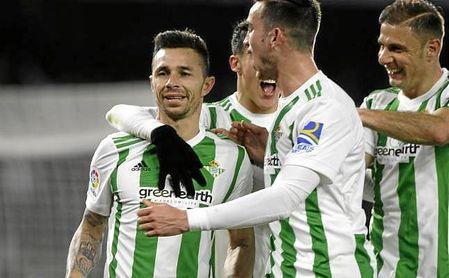 Rubén Castro celebra su gol al Leganés.