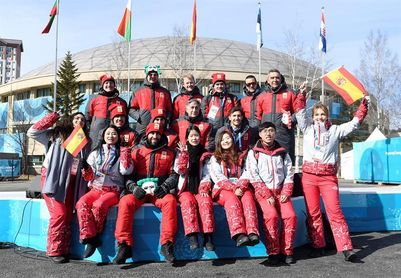 Izada la bandera española en la Villa Olímpica de PyeongChang