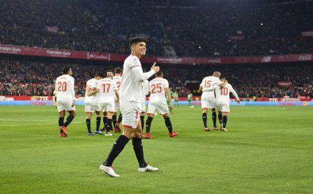 Joaquín Correa celebra el gol conseguido contra el Leganés en el Sánchez-Pizjuán.