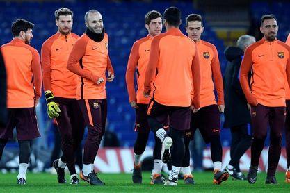 El Barcelona se ejercita en Stamford Bridge con todos sus efectivos