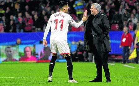 El cariñoso saludo de Mourinho a Sarabia y Correa