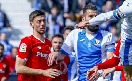 Lenglet, en el partido ante el Leganés en Butarque.