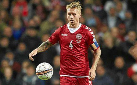 Kjaer, titular con Dinamarca en el triunfo ante Panamá.