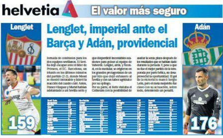 Lenglet, imperial ante el Barça y Adán, providencial