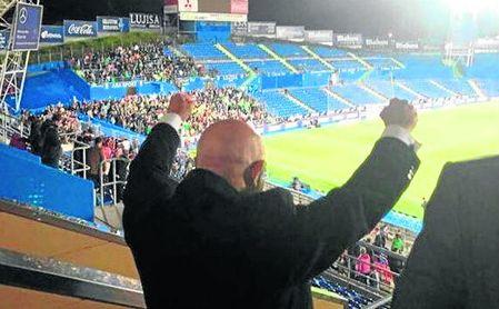 Esta imagen de Lorenzo Serra Ferrer celebrando el triunfo de Getafe se ha convertido en viral.