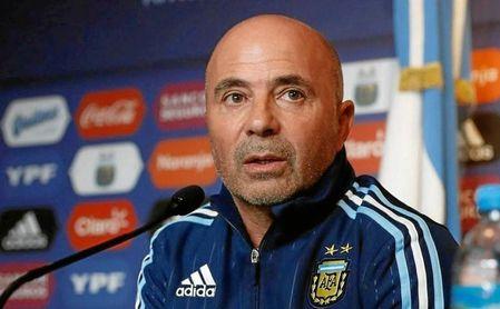 Sampaoli durante una rueda de prensa con la Selección Argentina.