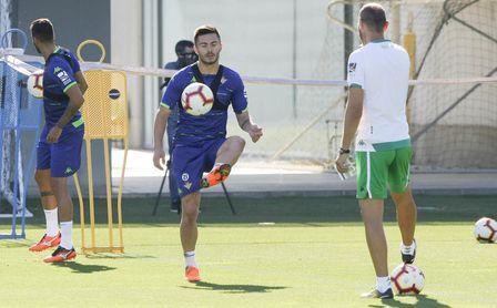 Tosca durante uno de los primeros entrenamientos de pretemporada con el Real Betis.