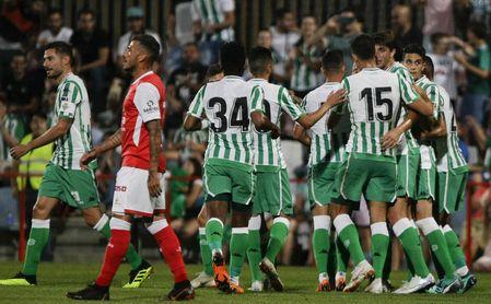 El Real Betis celebra un gol durante la pretemporada del club.