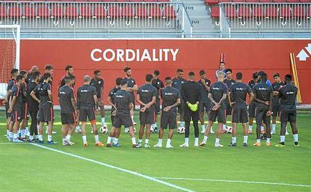 Imagen del entreno de este sábado del Sevilla.