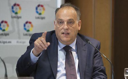 Javier Tebas, presidente de LaLiga, durante un acto promocionario.