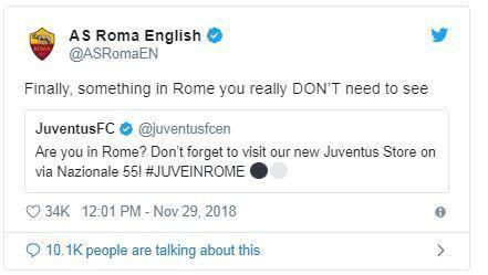 Zasca tremendo de la Roma a la Juventus en Twitter