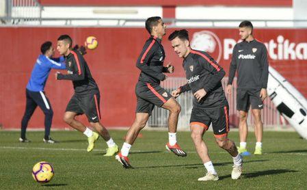 El Sevilla se entrena pensando en Butarque