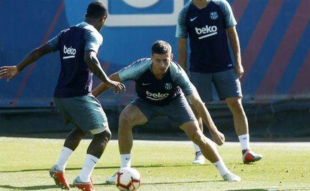 Clement Lenglet en el entrenamiento con el F.C. Barcelona