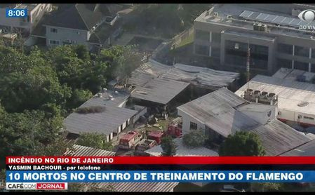 Al menos 10 muertos en incendio en centro de entrenamiento de Flamengo en Río.