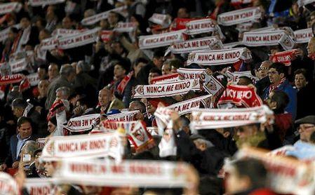 Imagen de la grada del Sánchez-Pizjuán en el partido ante el Krasnodar.