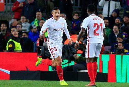 Arana celebra su gol marcado al Barça en Copa.