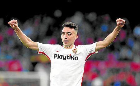 Munir celebra uno de los tantos del Sevilla ante el Slavia.