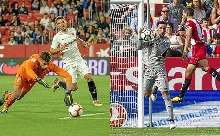 Lucho y Sergio Rico, porteros del Sevilla FC.
