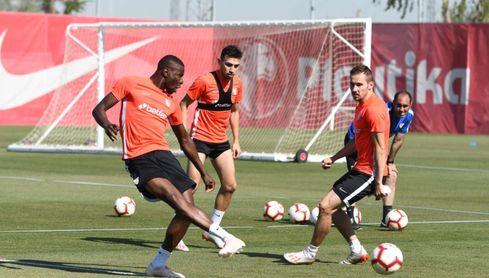 Imagen del entrenamiento del Sevilla FC.