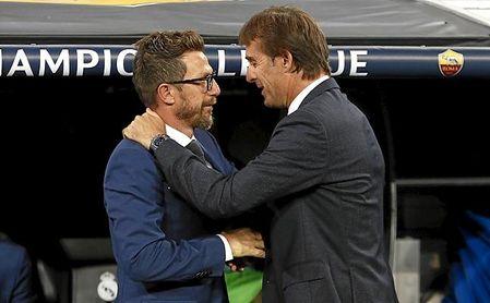Di Francesco y Lopetegui se saludan antes de un Madrid-Roma de Champions.