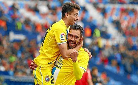 Borja Iglesias celebra un gol con el Espanyol.
