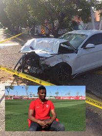 sí ha quedado el coche de Joao Maleck tras el accidente.