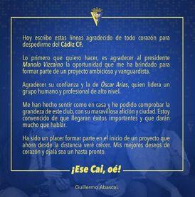 Guille Abascal se despide del Cádiz