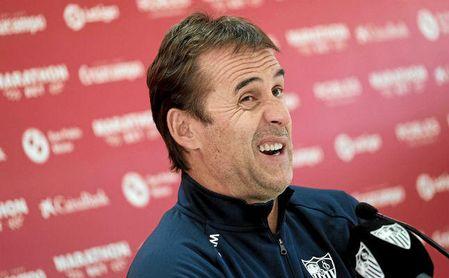 Julen Lopetegui, técnico del Sevilla, durante la rueda de prensa de este sábado.