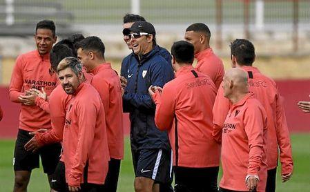 Lopetegui, en un entrenamiento con el Sevilla.