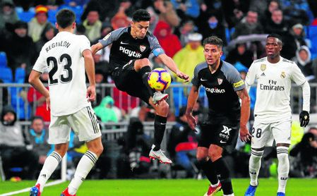 Imagen de la última visita del Sevilla FC al Santiago Bernabéu en LaLiga, correspondiente a la temporada pasada.