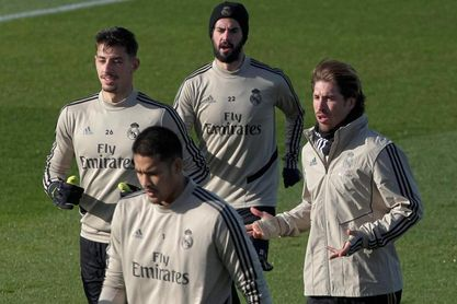 Ramos entrena con el grupo en vísperas del Sevilla