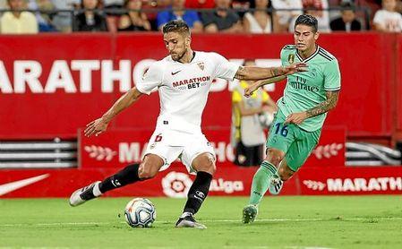 Carriço, en el partido contra el Real Madrid en el Sánchez-Pizjuán.