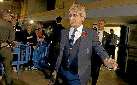 Pellegrini, a su llegada a San Pablo con el City para enfrentarse al Sevilla.