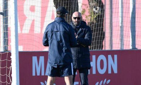 Monchi, director deportivo del Sevilla F.C., y Julen Lopetegui, entrenador del Sevilla F.C.