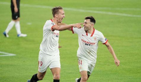 Luuk de Jong, autor del gol del triunfo del Sevilla F.C. ante el Rennes en Champions.