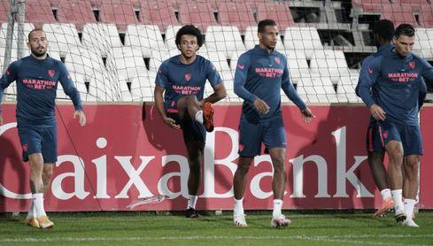 Imagen del entrenamiento del Sevilla FC de este miécoles.