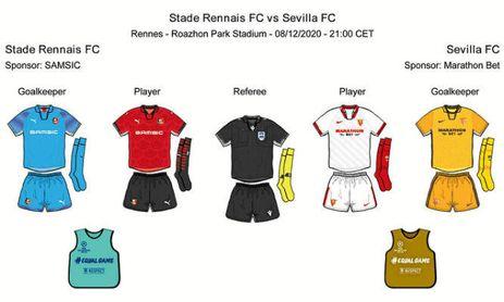 Indumentarias de Rennes y Sevilla para este martes.
