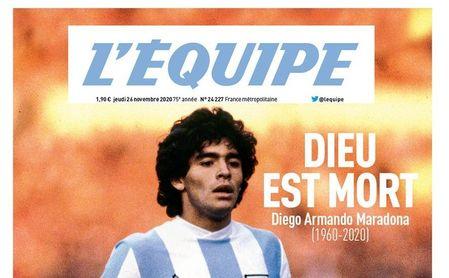 Portada del diario L'Equipe, tras la muerte de Maradona.