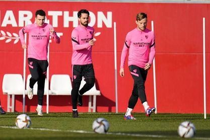 Imagen del entrenamiento de Sevilla de este jueves.