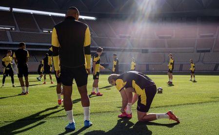 El Dortmund ultima en La Cartuja la preparación del partido ante el Sevilla FC