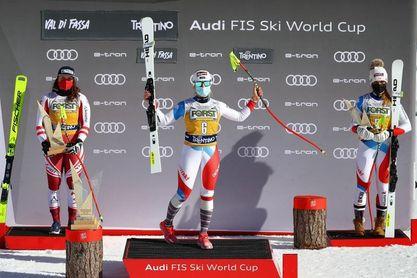 Gut prolonga su racha con triunfo en el descenso de Val di Fassa y liderato