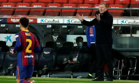 Koeman, durante el Barça-Sevilla del pasadomiércoles.