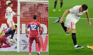 Un golazo de cabeza de En-Nesyri y un genial taconazo, para el 2-0 ante el Elche, de Mudo Vázquez.