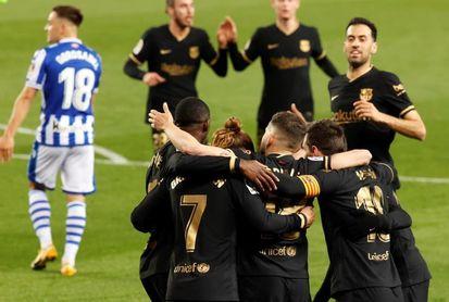 1-6. El Barça golea a la Real y no cede en la lucha por el título